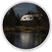 Super Moon And The Rose Barn 2016-2 Round Beach Towel by Thomas Young