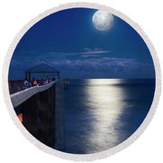 Round Beach Towel featuring the photograph Super Moon At Juno by Laura Fasulo