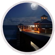 Super Moon At Juno Pier Round Beach Towel