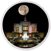 Super Moon At Ogden Lds Temple Round Beach Towel