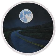Super Moon At The End Of The Road Round Beach Towel