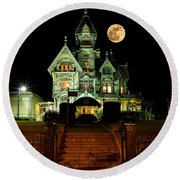 Super Moon Over Carson Mansion Round Beach Towel