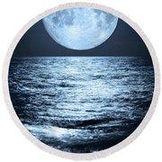 Super Moon Over Ocean Round Beach Towel
