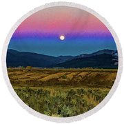 Super Moon Over Taos Round Beach Towel