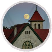 Super Moon Rising Round Beach Towel