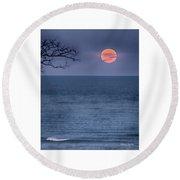 Super Moon Waning Round Beach Towel