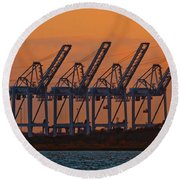 Super Post-panamax Sts Cranes Round Beach Towel