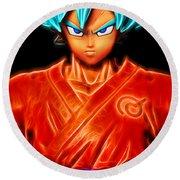 Super Saiyan God Goku Round Beach Towel
