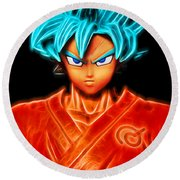 Super Saiyan God Goku Round Beach Towel