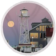 Super Wolf Moon At The Watch Tower Round Beach Towel