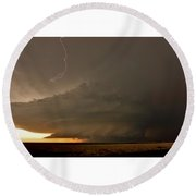 Supercell In Kansas Round Beach Towel