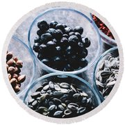 Superfoods In Transparent Glass Bowls. Round Beach Towel