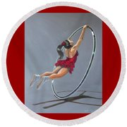 Supergirl On Cyr Wheel  Round Beach Towel
