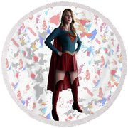 Round Beach Towel featuring the mixed media Supergirl Splash Super Hero Series by Movie Poster Prints