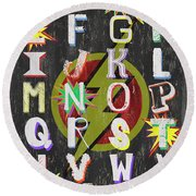Superhero Alphabet Round Beach Towel