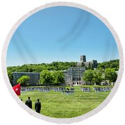 Superintendent's Review Wide Angle Round Beach Towel by Dan McManus