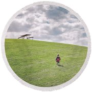 Superman And The Big Hill Round Beach Towel