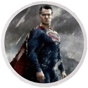 Superman Oil Pastel Sketch Round Beach Towel