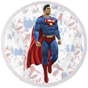Round Beach Towel featuring the mixed media Superman Splash Super Hero Series by Movie Poster Prints
