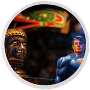 Superman Vs Buddha Round Beach Towel