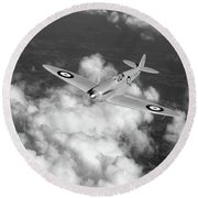 Round Beach Towel featuring the photograph Supermarine Spitfire Prototype K5054 Black And White Version by Gary Eason