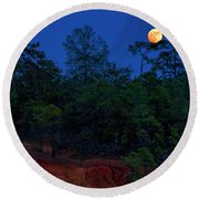 Supermoon Over Providence Canyon Round Beach Towel by Barbara Bowen