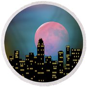 Supermoon Over The City Round Beach Towel by Klara Acel