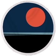 Round Beach Towel featuring the digital art Supermoon Over The Sea by Klara Acel