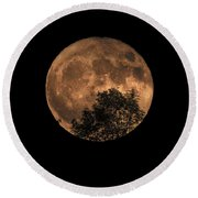 Supermoon Rising Round Beach Towel