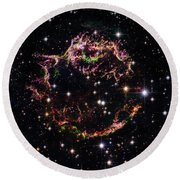Round Beach Towel featuring the photograph Supernova Remnant Cassiopeia A by Marco Oliveira