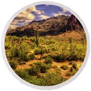 Superstition Mountain And Wilderness Round Beach Towel