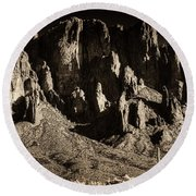 Superstition Mountain  Round Beach Towel