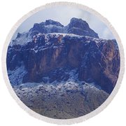 Superstition Mountain Snowfall Round Beach Towel