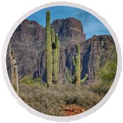 Superstition Mountain With Cactus Round Beach Towel