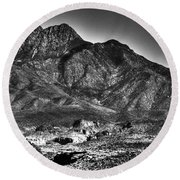 Four Peaks From Lost Dutchman State Park Round Beach Towel