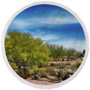 Superstition Mountains Round Beach Towel