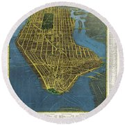 Supervue Of New York City - Birds Eye View - New York Map - Historical Map - Catrography Round Beach Towel