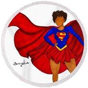 Superwoman I Am  Round Beach Towel