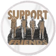 Round Beach Towel featuring the digital art Support Friends by Lance Sheridan-Peel
