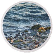 Surf And Rocks Round Beach Towel