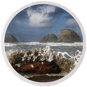 Surf And Three Arch Rocks Round Beach Towel
