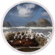 Surf And Three Arch Rocks Round Beach Towel