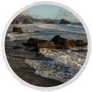 Surf At Crescent Beach Round Beach Towel