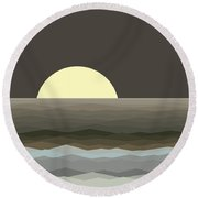 Surf At Moonrise Round Beach Towel