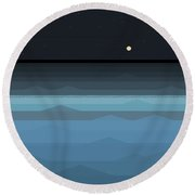 Surf At Night Round Beach Towel