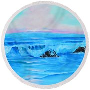 Surf At Sunset  Round Beach Towel