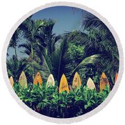 Round Beach Towel featuring the photograph Surf Board Fence Maui Hawaii Vintage by Edward Fielding