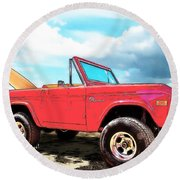 Surf Bronco Beyond The 4 Wheel Drive Only Sign Padre Island Round Beach Towel