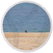 Round Beach Towel featuring the photograph Surf Caster by  Newwwman