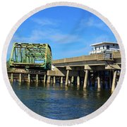 Round Beach Towel featuring the photograph Surf City Bridge by Bob Sample